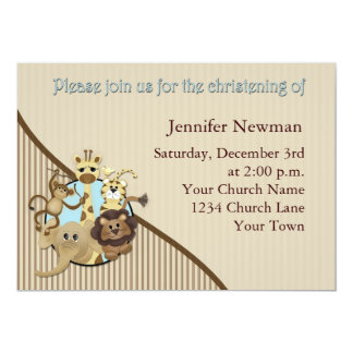 Baby Christening Invitation Safarri