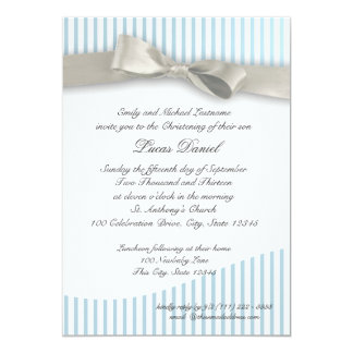 Baby Christening Pinstripe with Bow Card