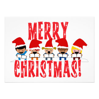 Baby Christmas Carolers - Merry Christmas Personalized Announcements