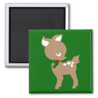 Baby Christmas Deer with Holly magnet