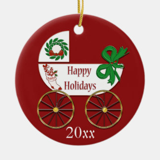 Baby Christmas ornament carriage Happy Holidays