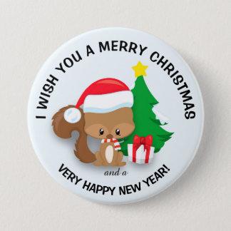 Baby Christmas Squirrel Santa Hat  Merry Christmas 7.5 Cm Round Badge