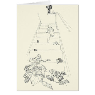 Baby climbing the stairs novelty art card