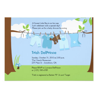Baby Clothesline Blue BOY 5x7 Baby Shower Custom Invitation