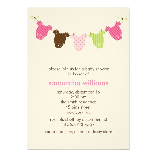 baby clothesline shower invitations 13 cm x 18 cm invitation card