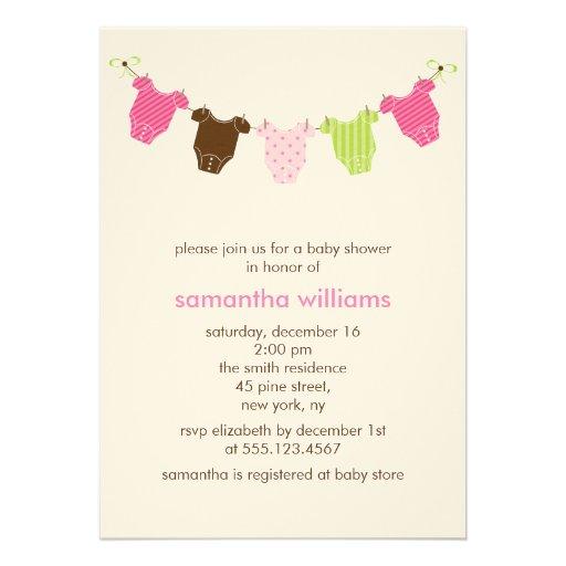baby clothesline shower invitations 13 cm x 18 cm invitation card