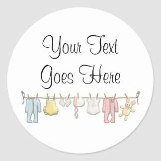 Baby Clothing Clothesline Infants Sewing Boutique Classic Round Sticker