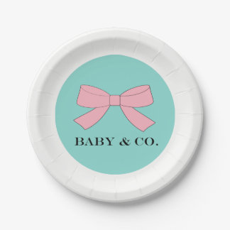 BABY & CO Baby Tiffany Baby Reveal Luncheon Plates 7 Inch Paper Plate