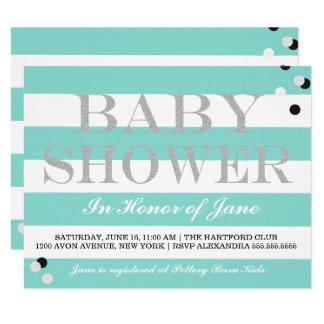 BABY & CO Blue And White Stripes Shower Invitation
