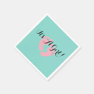 BABY & CO Pink And Blue It's A Girl Party Napkins Disposable Serviette