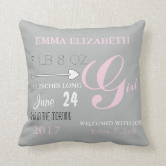 BABY & CO Pink & Gray Nursery Personalize Pillow