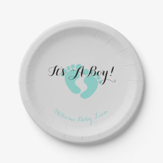 BABY & CO Teal Blue It's A Boy Party Plates