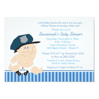 Baby Cop Police Officer Baby Shower Invitation