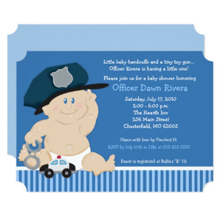 Baby Cop Police Officer Ticket Baby Shower Invite