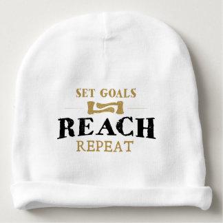 "Baby Cotton Beanie ""Set Goals, Reach, Repeat"" Baby Beanie"