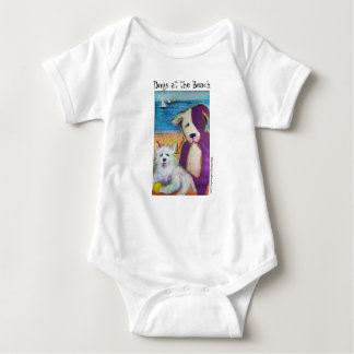 Baby coverall with two cute doggies at the beach baby bodysuit