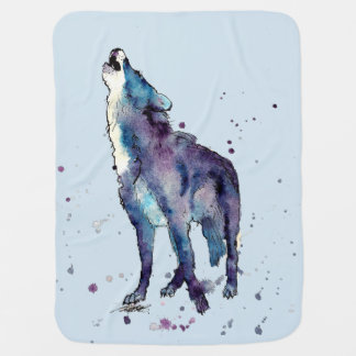 baby-covers with howling wolf receiving blanket