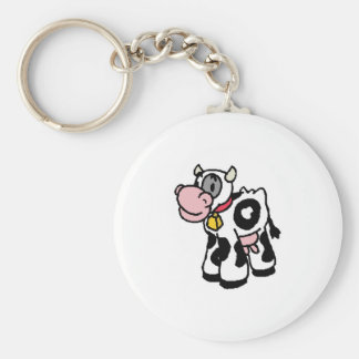 baby cow basic round button key ring