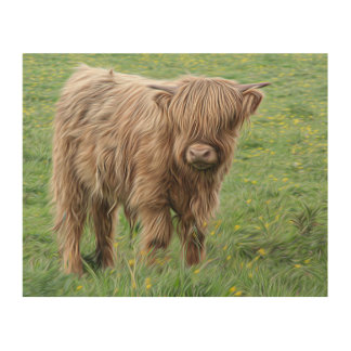 Baby cow picture wood print