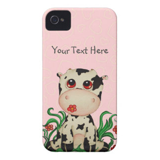 Baby Cow with Pink Hearts iPhone 4 Case