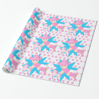 Baby Cowgirl Any Occassion Pink Polka Dot Wrapping Paper