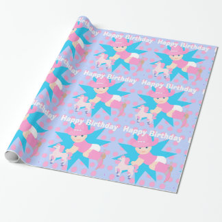 Baby Cowgirl Happy Birthday Polka Dot Wrapping Paper