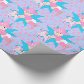 Baby Cowgirl With Hor Any Occassion Pink Polka Dot Wrapping Paper