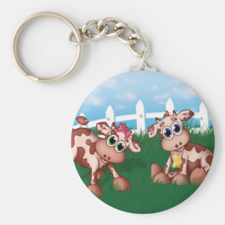 Baby Cows on a Hill Side With White Fence in Back Key Ring
