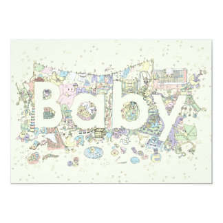'Baby' creative text novelty art poster 13 Cm X 18 Cm Invitation Card
