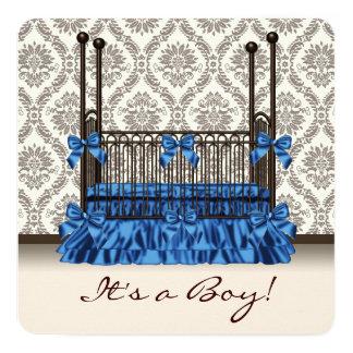 Baby Crib Blue Brown Damask Baby Boy Shower Card