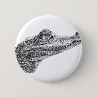 Baby Crocodile Ink Drawing 6 Cm Round Badge