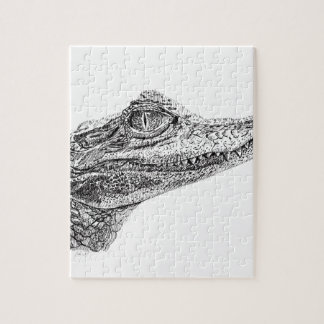 Baby Crocodile Ink Drawing Jigsaw Puzzle