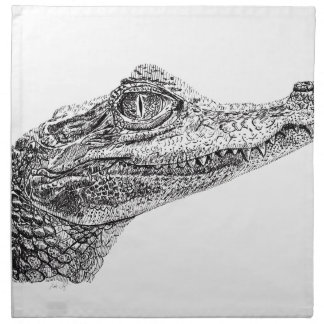 Baby Crocodile Ink Drawing Napkin