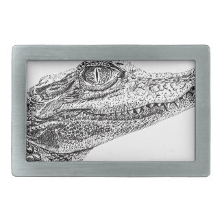 Baby Crocodile Ink Drawing Rectangular Belt Buckles