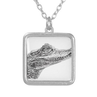 Baby Crocodile Ink Drawing Silver Plated Necklace