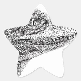 Baby Crocodile Ink Drawing Star Sticker
