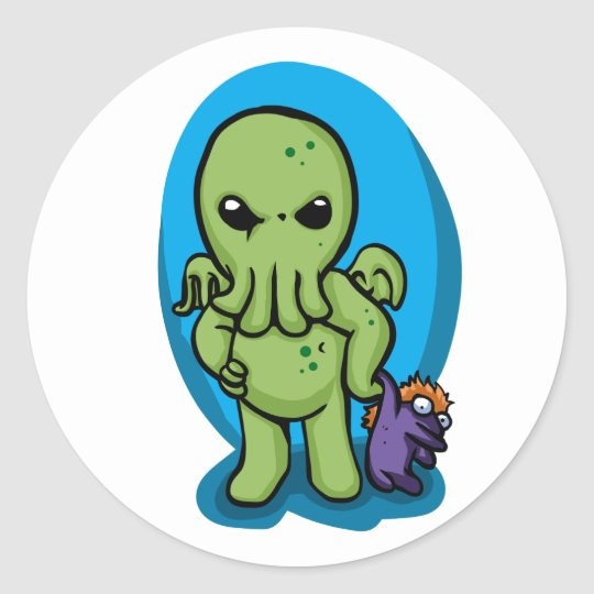 Baby cthulhu - cute cthulhu - cthulhu halloween classic round sticker