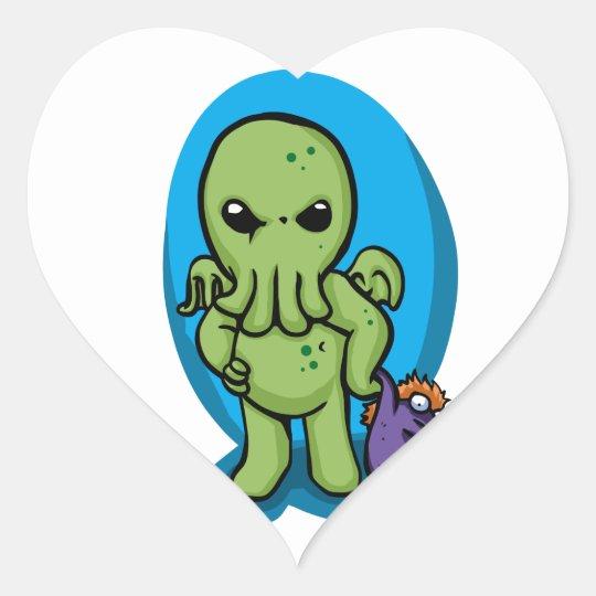Baby cthulhu - cute cthulhu - cthulhu halloween heart sticker