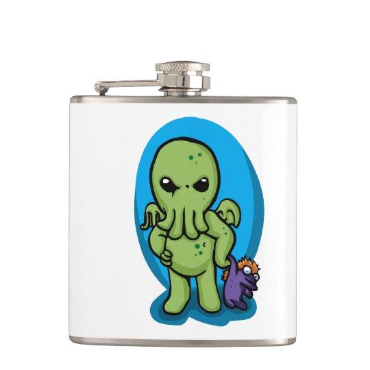 Baby cthulhu - cute cthulhu - cthulhu halloween hip flask