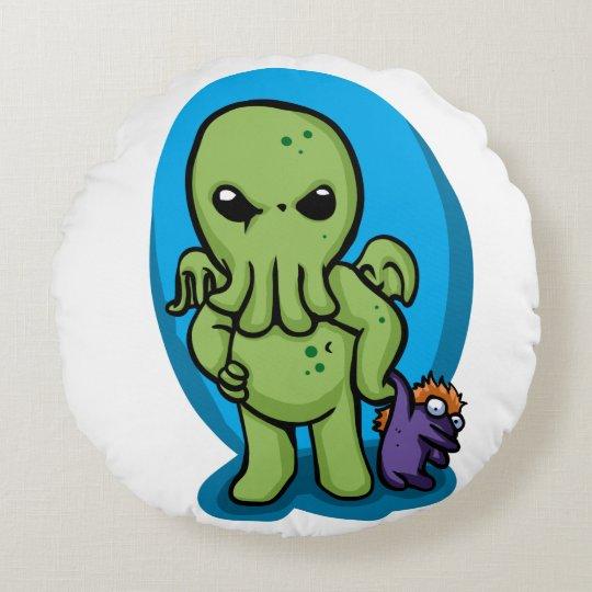 Baby cthulhu - cute cthulhu - cthulhu halloween round cushion