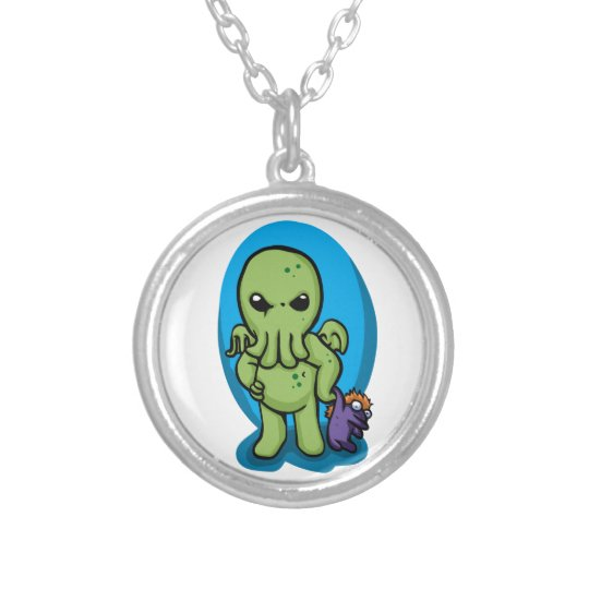 Baby cthulhu - cute cthulhu - cthulhu halloween silver plated necklace