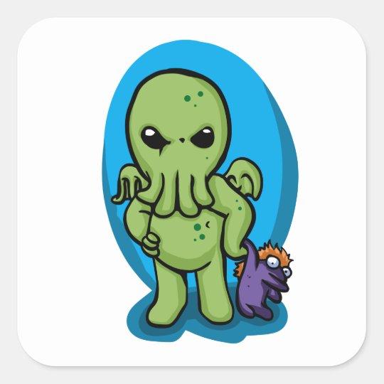 Baby cthulhu - cute cthulhu - cthulhu halloween square sticker