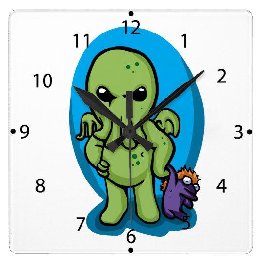 Baby cthulhu - cute cthulhu - cthulhu halloween square wall clock