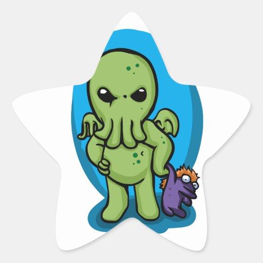 Baby cthulhu - cute cthulhu - cthulhu halloween star sticker