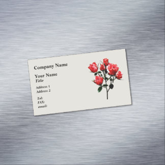 Baby Dark Pink Roses Magnetic Business Card