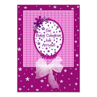 "Baby Daughter's Arrival Announcment 5"" X 7"" Invitation Card"