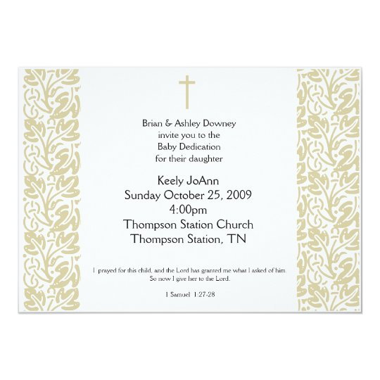 Baby Dedication Gender Neutral Baptism Invitation