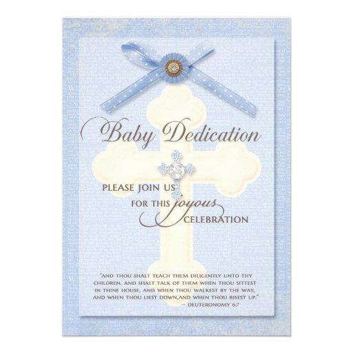 Baby Dedication Invitation - Blue w/ cross & ribbo