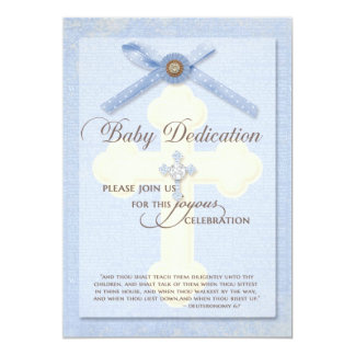 Baby Dedication Invitation - Blue w/ cross & ribbo