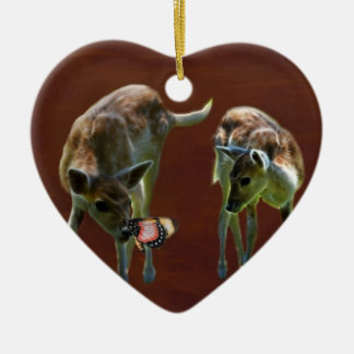 Baby Deer and butterfly Christmas Tree Ornaments